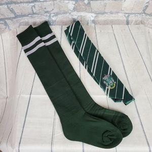 Harry Potter Slytherin Knee Socks and House Crest Tie Set